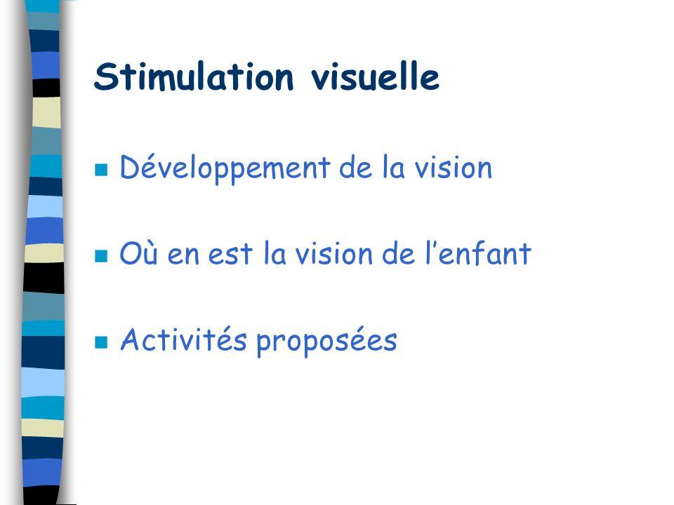 VISION Contact œil à œil Poursuite visuelle MOTRICITE Bonne coordination des gestes pour les réaliser AUDITION Orientation au son Discrimination audit