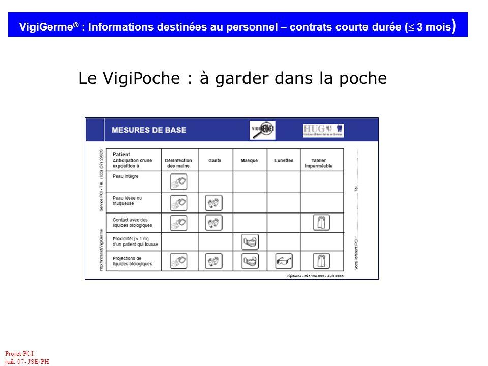 Projet PCI juil. 07- JSB/PH VigiGerme ® : Informations destinées au personnel – contrats courte durée ( 3 mois ) Le VigiPoche : à garder dans la poche