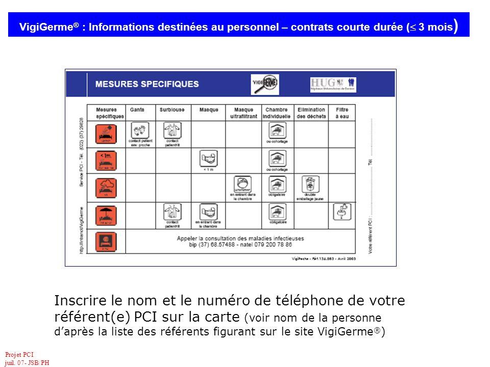 Projet PCI juil. 07- JSB/PH VigiGerme ® : Informations destinées au personnel – contrats courte durée ( 3 mois ) Inscrire le nom et le numéro de télép