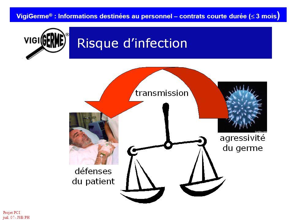 Projet PCI juil. 07- JSB/PH VigiGerme ® : Informations destinées au personnel – contrats courte durée ( 3 mois )