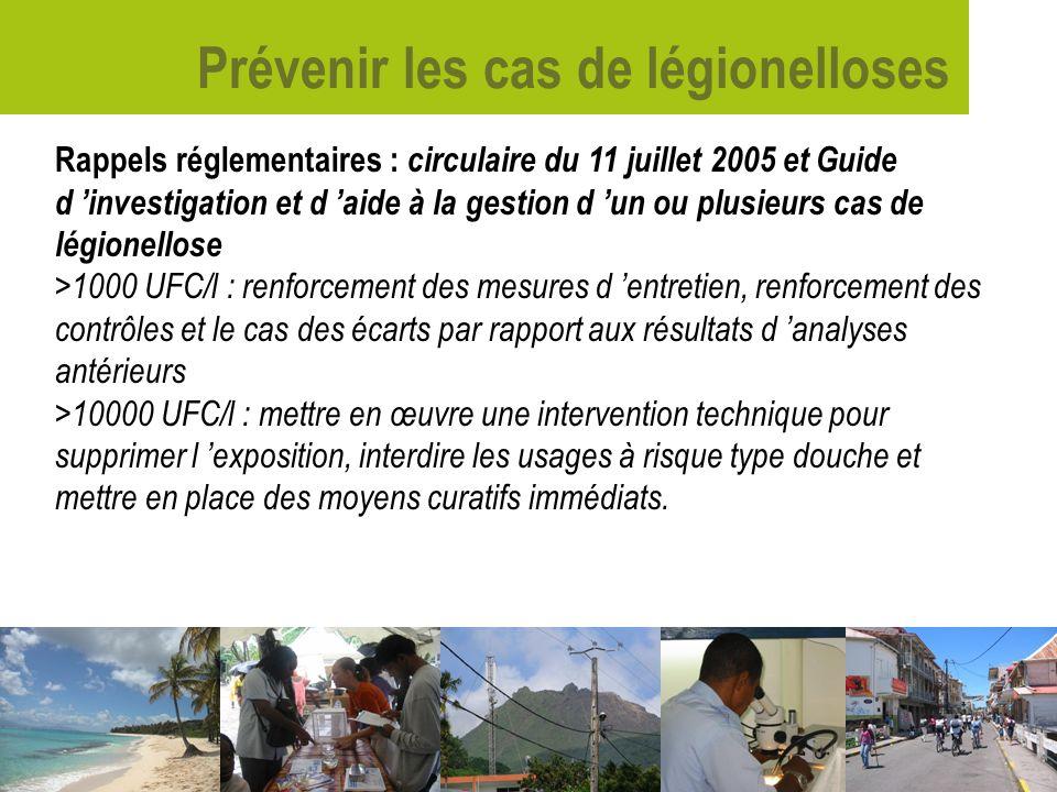 Prévenir les cas de légionelloses Rappels réglementaires : circulaire du 11 juillet 2005 et Guide d investigation et d aide à la gestion d un ou plusi