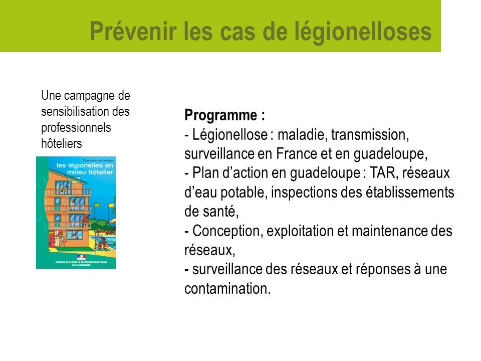 Prévenir les cas de légionelloses Une campagne de sensibilisation des professionnels hôteliers Programme : - Légionellose : maladie, transmission, sur