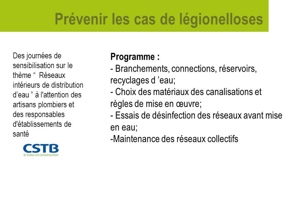 Prévenir les cas de légionelloses Investigations menées sur des cas isolés : 2 cas de légionelloses déclarés en 2006 : - M.