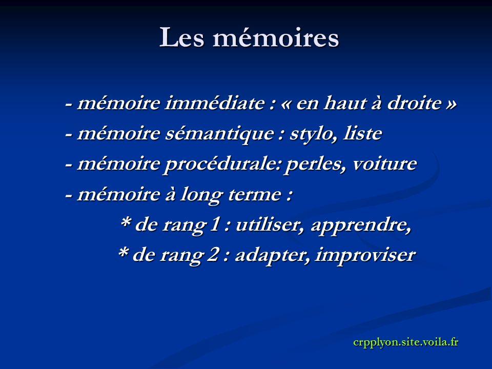 Les mémoires - mémoire immédiate : « en haut à droite » - mémoire sémantique : stylo, liste - mémoire procédurale: perles, voiture - mémoire à long terme : * de rang 1 : utiliser, apprendre, * de rang 2 : adapter, improviser crpplyon.site.voila.fr