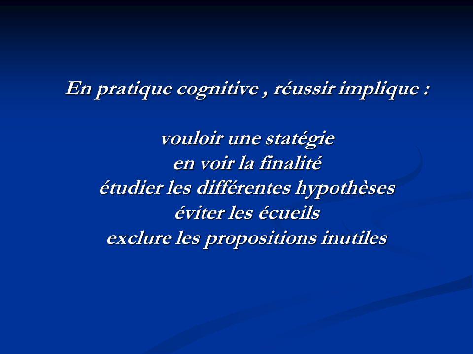En pratique cognitive, réussir implique : vouloir une statégie en voir la finalité étudier les différentes hypothèses éviter les écueils exclure les propositions inutiles