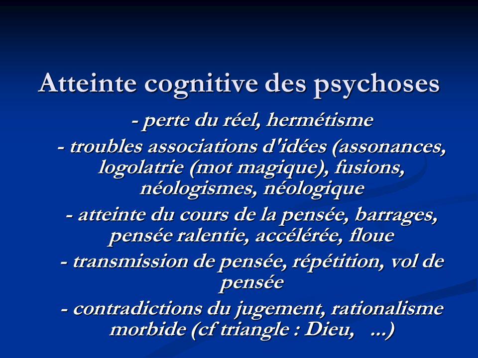 Atteinte cognitive des psychoses - perte du réel, hermétisme - troubles associations d idées (assonances, logolatrie (mot magique), fusions, néologismes, néologique - atteinte du cours de la pensée, barrages, pensée ralentie, accélérée, floue - transmission de pensée, répétition, vol de pensée - contradictions du jugement, rationalisme morbide (cf triangle : Dieu,...)
