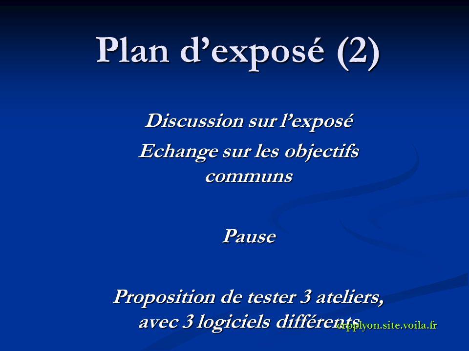 Plan dexposé (2) Discussion sur lexposé Echange sur les objectifs communs Pause Proposition de tester 3 ateliers, avec 3 logiciels différents crpplyon.site.voila.fr