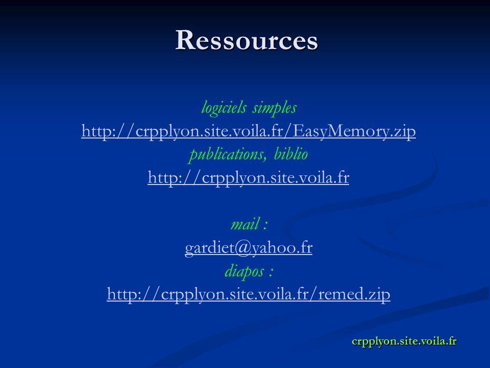 Ressources logiciels simples http://crpplyon.site.voila.fr/EasyMemory.zip publications, biblio http://crpplyon.site.voila.fr mail : gardiet@yahoo.fr diapos : http://crpplyon.site.voila.fr/remed.zipcrpplyon.site.voila.fr