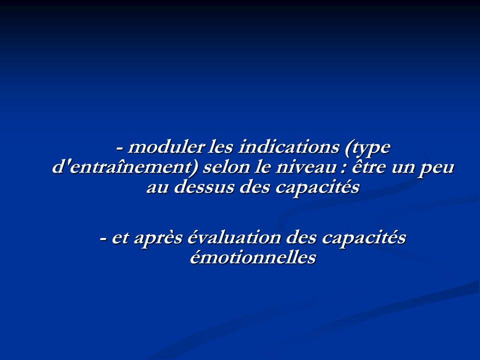 - moduler les indications (type d entraînement) selon le niveau : être un peu au dessus des capacités - et après évaluation des capacités émotionnelles