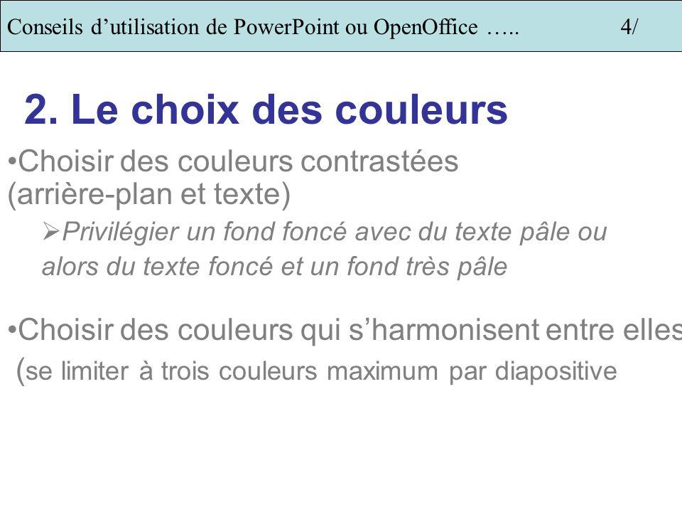 Conseils dutilisation de PowerPoint ou OpenOffice …..3/ 1. Utiliser ou pas les modèles? Uniquement si le modèle choisi est sobre