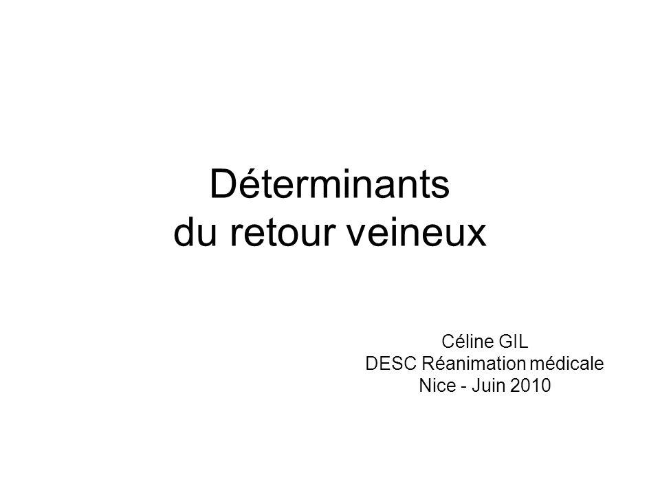 Déterminants du retour veineux Céline GIL DESC Réanimation médicale Nice - Juin 2010