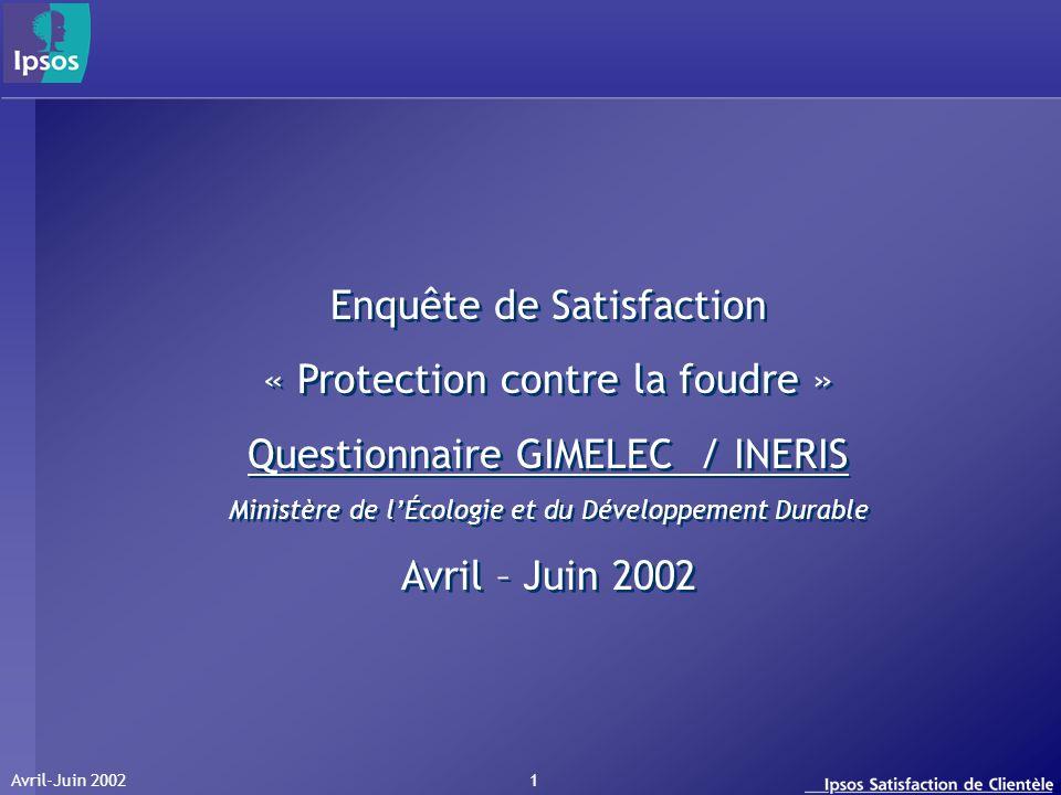 Avril-Juin 2002 1 Enquête de Satisfaction « Protection contre la foudre » Questionnaire GIMELEC / INERIS Ministère de lÉcologie et du Développement Du