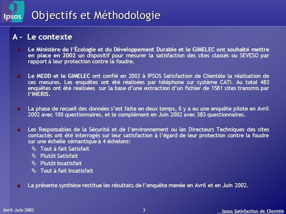 Avril-Juin 2002 3 Objectifs et Méthodologie Le Ministère de lÉcologie et du Développement Durable et le GIMELEC ont souhaité mettre en place en 2002 u