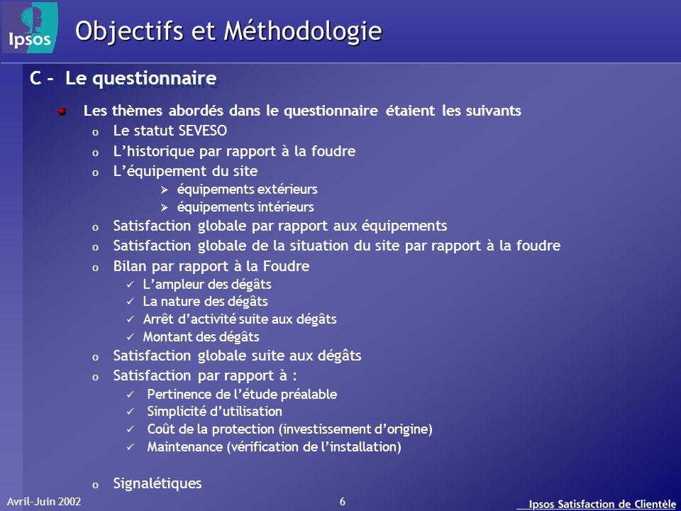Avril-Juin 2002 6 Les thèmes abordés dans le questionnaire étaient les suivants o Le statut SEVESO o Lhistorique par rapport à la foudre o Léquipement