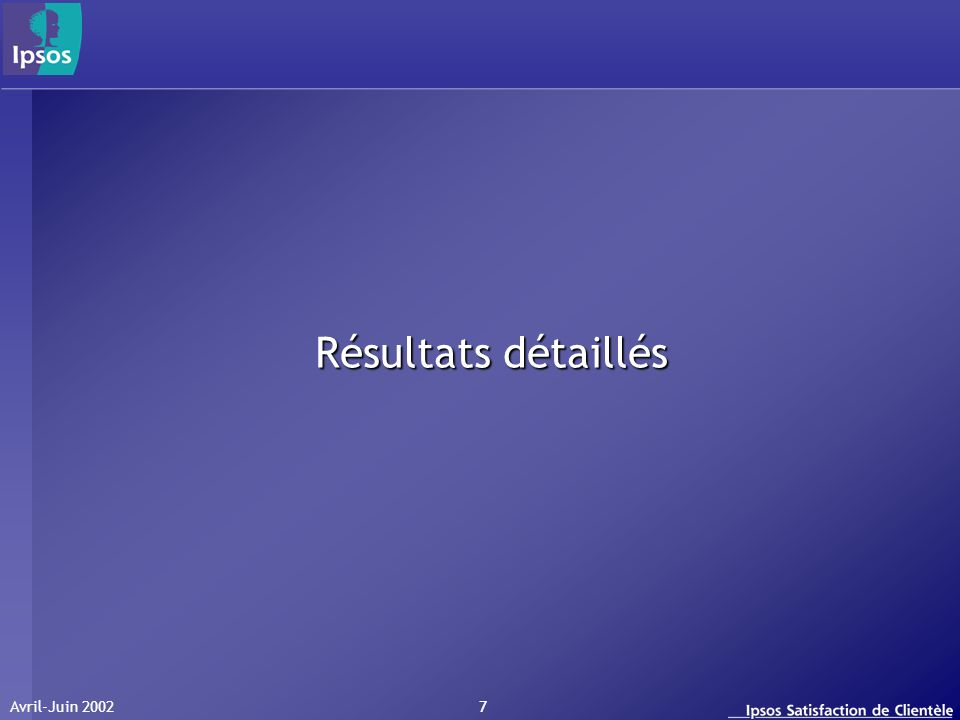 Avril-Juin 2002 7 Résultats détaillés