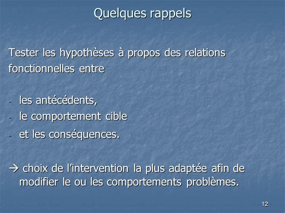 12 Quelques rappels Tester les hypothèses à propos des relations fonctionnelles entre - les antécédents, - le comportement cible - et les conséquences.