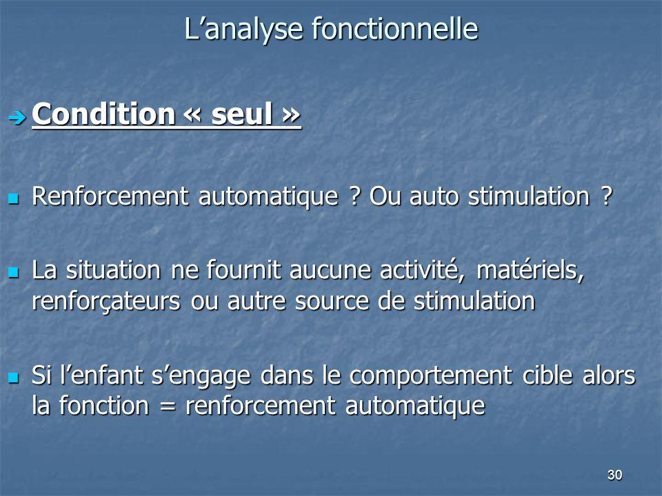 30 Lanalyse fonctionnelle Condition « seul » Condition « seul » Renforcement automatique ? Ou auto stimulation ? Renforcement automatique ? Ou auto st