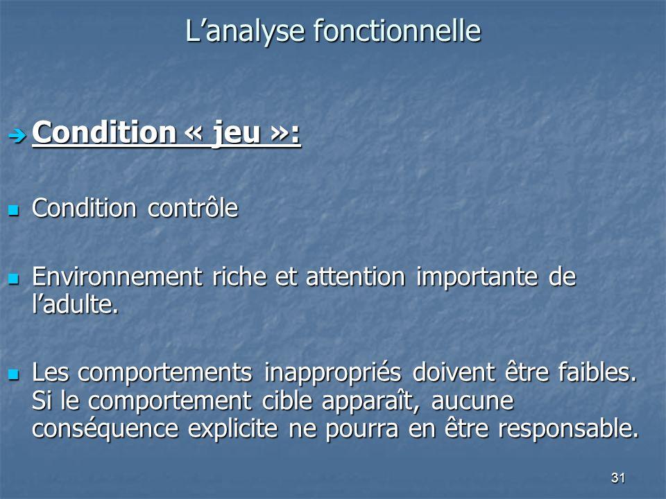 31 Lanalyse fonctionnelle Condition « jeu »: Condition « jeu »: Condition contrôle Condition contrôle Environnement riche et attention importante de ladulte.