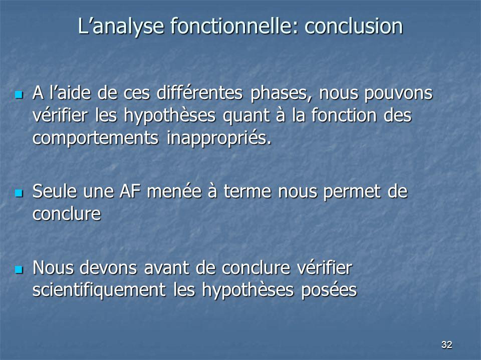 32 Lanalyse fonctionnelle: conclusion A laide de ces différentes phases, nous pouvons vérifier les hypothèses quant à la fonction des comportements inappropriés.