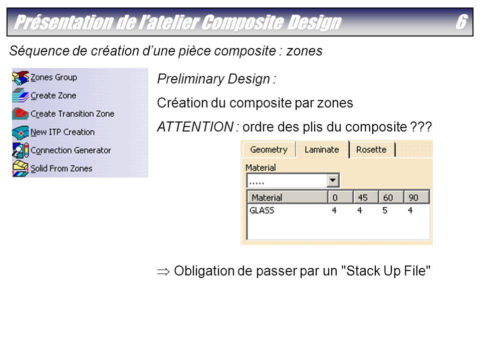 7 Présentation de latelier Composite Design Séquence de création dune pièce composite : plis Crée le Stack Up File Crée les plis en utilisant le fichier Excel modifié Vérifications