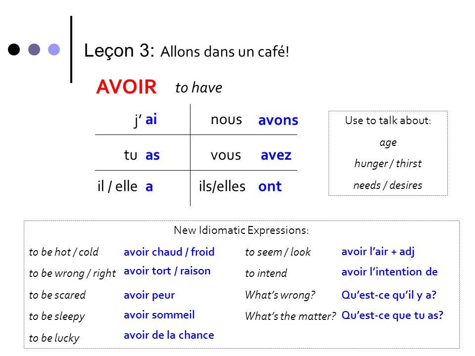 Leçon 3: Allons dans un café! AVOIR to have j ai tu il / elle nous vous ils/elles as a avons avez ont New Idiomatic Expressions: to be hot / cold to s