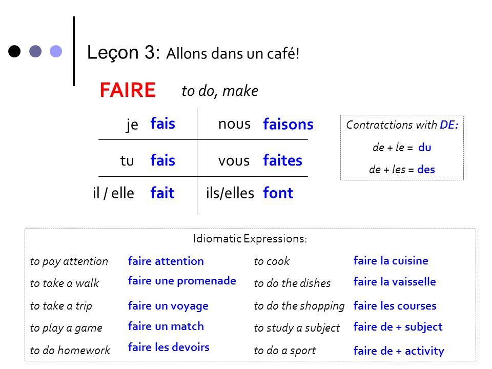 Leçon 3: Allons dans un café! FAIRE to do, make je fais tu il / elle nous vous ils/elles fais fait faisons faites font Contratctions with DE: de + le