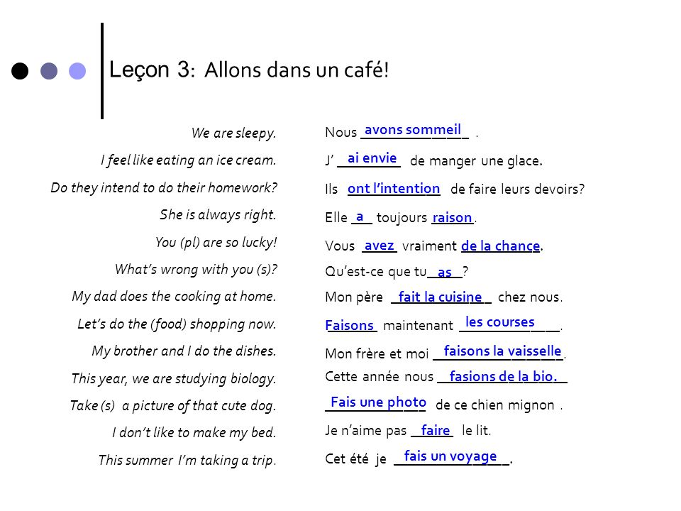 Leçon 3 : Allons dans un café! We are sleepy. I feel like eating an ice cream. Do they intend to do their homework? She is always right. You (pl) are