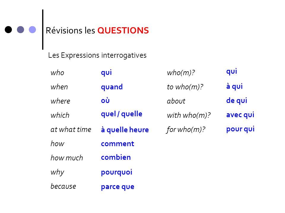 Révisions les QUESTIONS Les phrasesLintonationEst-ce queLinversion Tu joues?Est-ce que tu joues?Joues-tu.