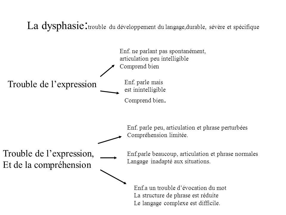 La dysphasie : trouble du développement du langage,durable, sévère et spécifique Enf. parle mais est inintelligible Comprend bien. Enf. ne parlant pas