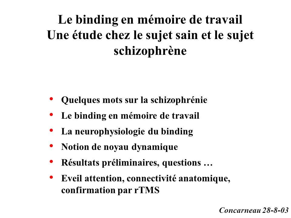 Le binding en mémoire de travail Une étude chez le sujet sain et le sujet schizophrène Quelques mots sur la schizophrénie Le binding en mémoire de tra