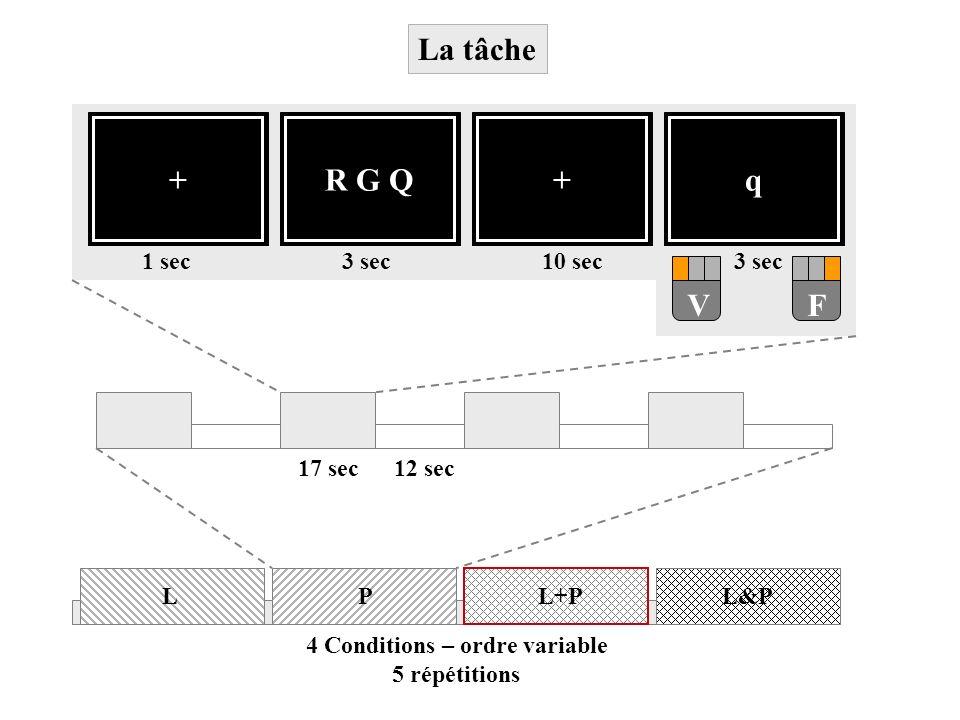 +R G Q+q VF 3 sec10 sec3 sec1 sec 12 sec17 sec 4 Conditions – ordre variable 5 répétitions LPL&PL+P La tâche