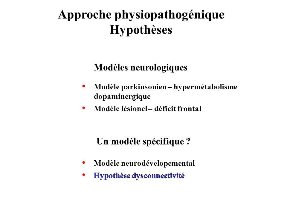 Approche physiopathogénique Hypothèses Modèle neurodévelopemental Hypothèse dysconnectivité Modèles neurologiques Modèle parkinsonien – hypermétabolis