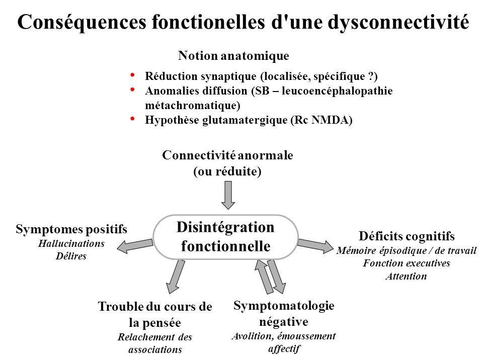 Conséquences fonctionelles d'une dysconnectivité Trouble du cours de la pensée Relachement des associations Symptomes positifs Hallucinations Délires