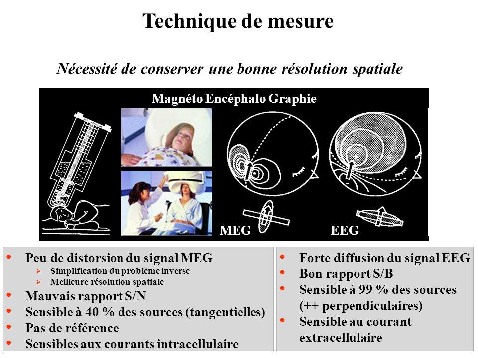 Technique de mesure Nécessité de conserver une bonne résolution spatiale Peu de distorsion du signal MEG Simplification du problème inverse Meilleure