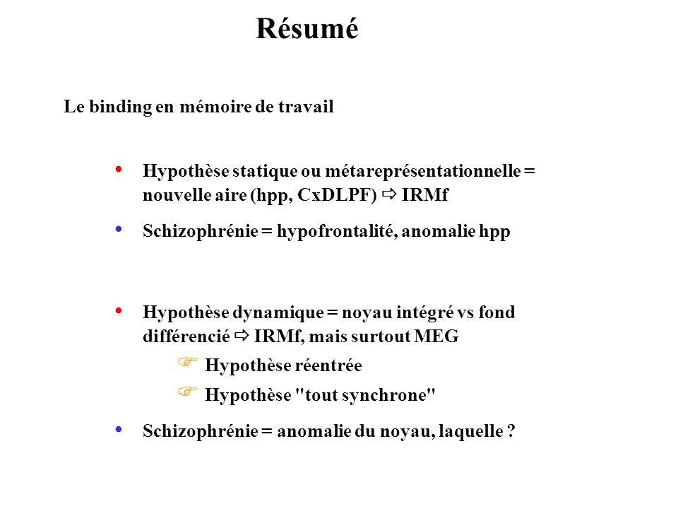 Résumé Le binding en mémoire de travail Hypothèse statique ou métareprésentationnelle = nouvelle aire (hpp, CxDLPF) IRMf Hypothèse dynamique = noyau i