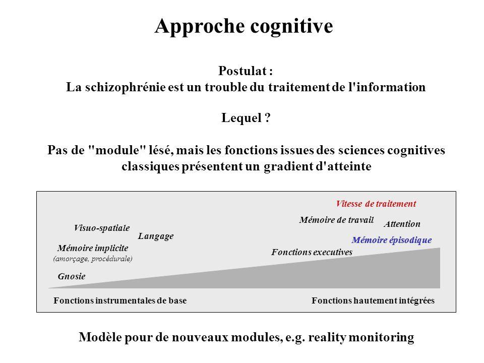 Approche cognitive Postulat : La schizophrénie est un trouble du traitement de l'information Lequel ? Pas de