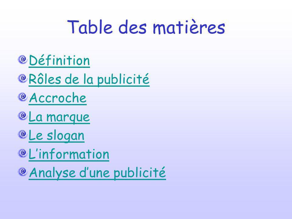 Table des matières Définition Rôles de la publicité Accroche La marque Le slogan Linformation Analyse dune publicité
