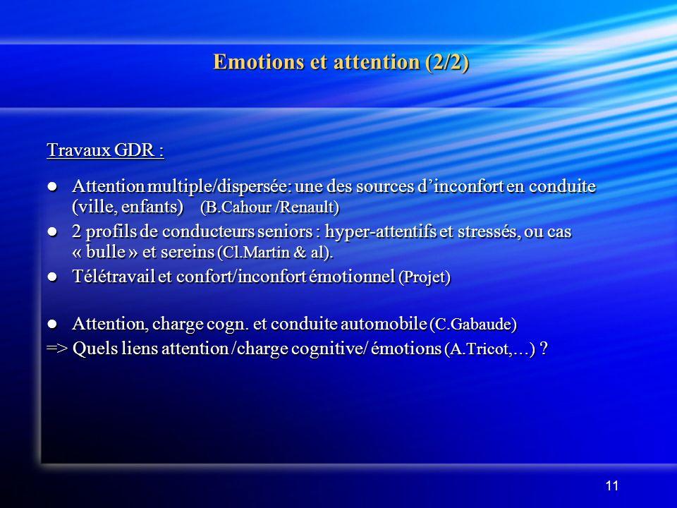 11 Emotions et attention (2/2) Travaux GDR : Attention multiple/dispersée: une des sources dinconfort en conduite (ville, enfants) (B.Cahour /Renault) Attention multiple/dispersée: une des sources dinconfort en conduite (ville, enfants) (B.Cahour /Renault) 2 profils de conducteurs seniors : hyper-attentifs et stressés, ou cas « bulle » et sereins (Cl.Martin & al).