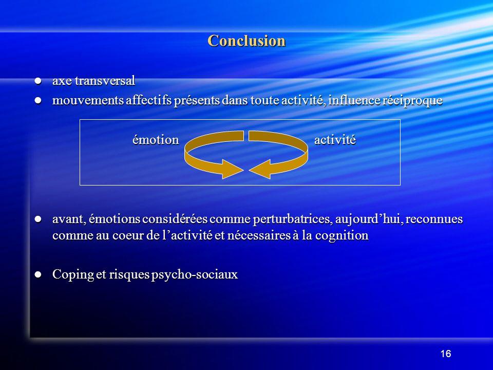 16 Conclusion axe transversal axe transversal mouvements affectifs présents dans toute activité, influence réciproque mouvements affectifs présents da