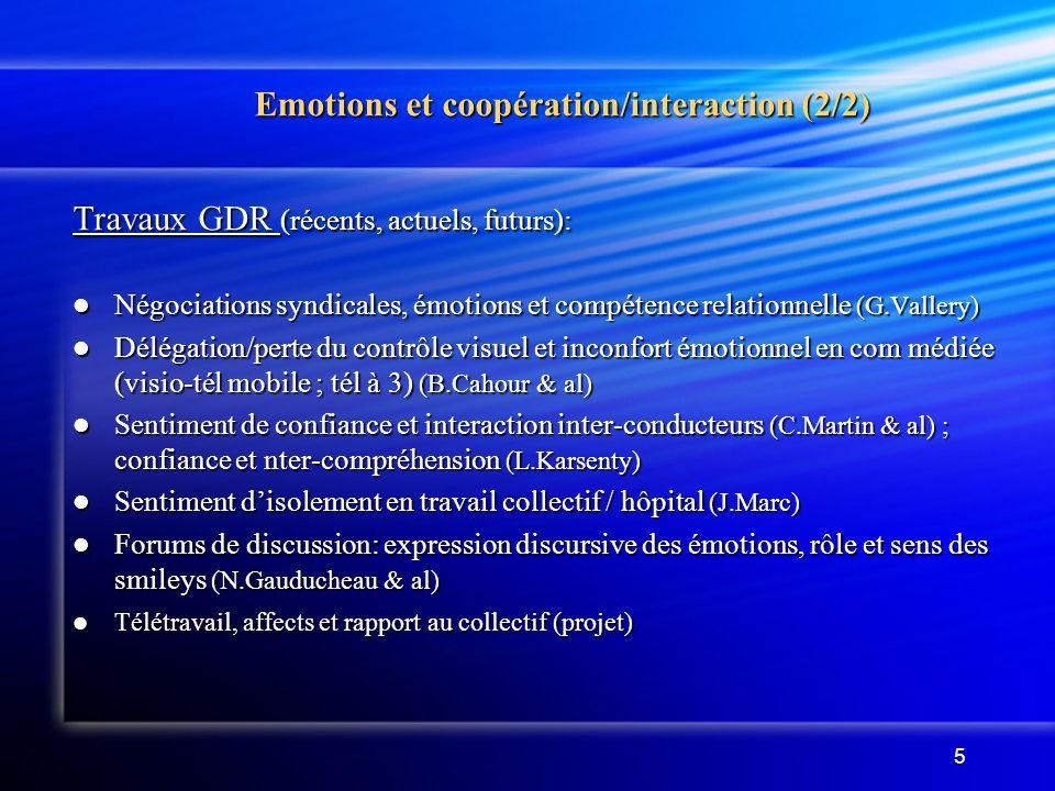 5 Emotions et coopération/interaction (2/2) Emotions et coopération/interaction (2/2) Travaux GDR (récents, actuels, futurs): Négociations syndicales, émotions et compétence relationnelle (G.Vallery) Négociations syndicales, émotions et compétence relationnelle (G.Vallery) Délégation/perte du contrôle visuel et inconfort émotionnel en com médiée (visio-tél mobile ; tél à 3) (B.Cahour & al) Délégation/perte du contrôle visuel et inconfort émotionnel en com médiée (visio-tél mobile ; tél à 3) (B.Cahour & al) Sentiment de confiance et interaction inter-conducteurs (C.Martin & al) ; confiance et nter-compréhension (L.Karsenty) Sentiment de confiance et interaction inter-conducteurs (C.Martin & al) ; confiance et nter-compréhension (L.Karsenty) Sentiment disolement en travail collectif / hôpital (J.Marc) Sentiment disolement en travail collectif / hôpital (J.Marc) Forums de discussion: expression discursive des émotions, rôle et sens des smileys (N.Gauducheau & al) Forums de discussion: expression discursive des émotions, rôle et sens des smileys (N.Gauducheau & al) Télétravail, affects et rapport au collectif (projet) Télétravail, affects et rapport au collectif (projet)