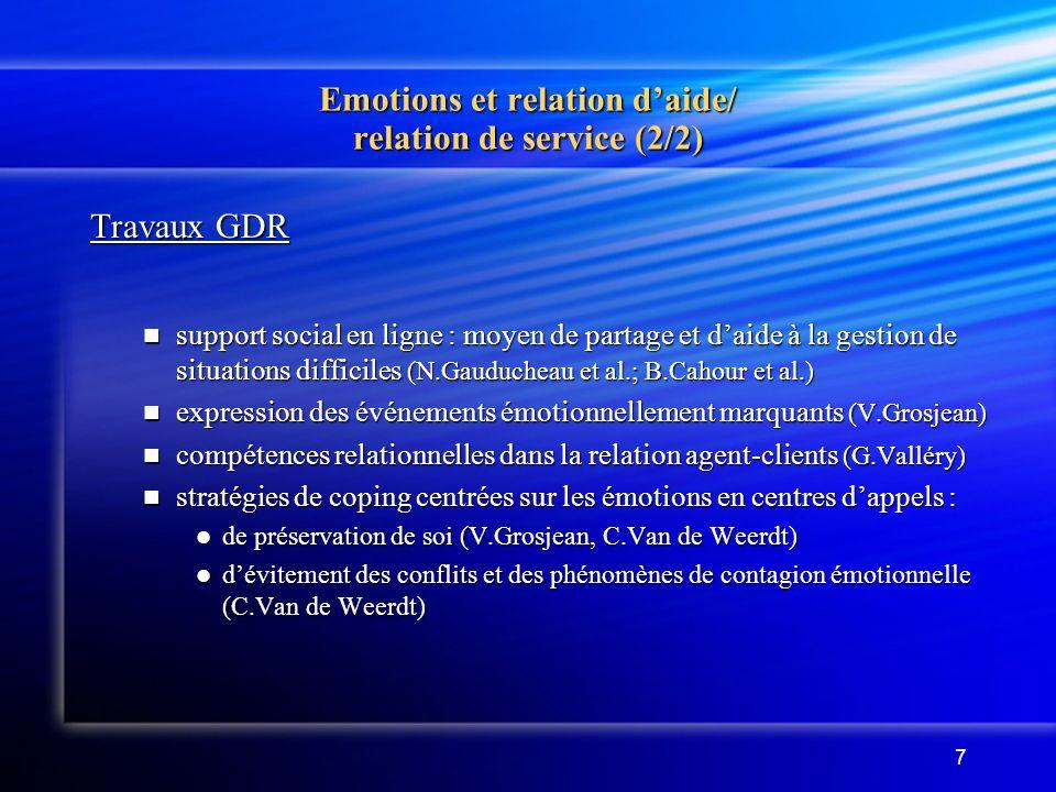 7 Emotions et relation daide/ relation de service (2/2) Travaux GDR support social en ligne : moyen de partage et daide à la gestion de situations dif