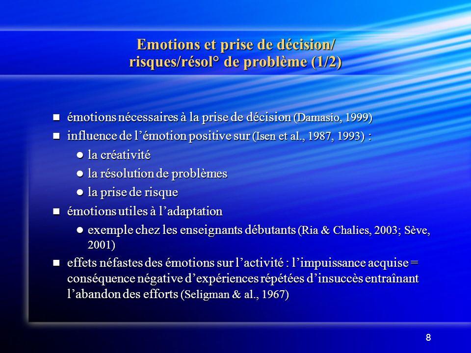 8 Emotions et prise de décision/ risques/résol° de problème (1/2) émotions nécessaires à la prise de décision (Damasio, 1999) émotions nécessaires à la prise de décision (Damasio, 1999) influence de lémotion positive sur (Isen et al., 1987, 1993) : influence de lémotion positive sur (Isen et al., 1987, 1993) : la créativité la créativité la résolution de problèmes la résolution de problèmes la prise de risque la prise de risque émotions utiles à ladaptation émotions utiles à ladaptation exemple chez les enseignants débutants (Ria & Chalies, 2003; Sève, 2001) exemple chez les enseignants débutants (Ria & Chalies, 2003; Sève, 2001) effets néfastes des émotions sur lactivité : limpuissance acquise = conséquence négative dexpériences répétées dinsuccès entraînant labandon des efforts (Seligman & al., 1967) effets néfastes des émotions sur lactivité : limpuissance acquise = conséquence négative dexpériences répétées dinsuccès entraînant labandon des efforts (Seligman & al., 1967)