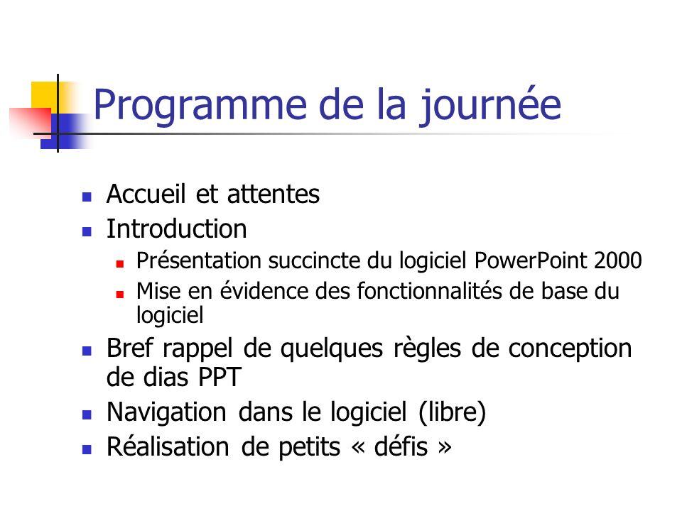 Programme de la journée Accueil et attentes Introduction Présentation succincte du logiciel PowerPoint 2000 Mise en évidence des fonctionnalités de ba