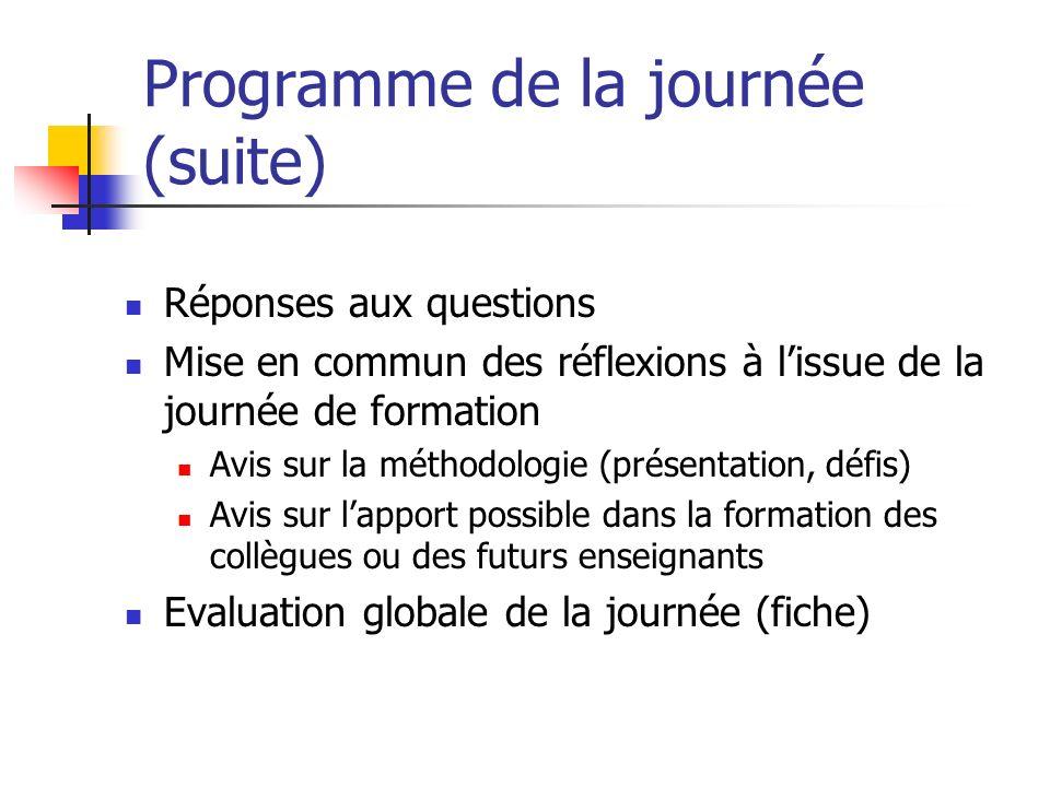 Programme de la journée (suite) Réponses aux questions Mise en commun des réflexions à lissue de la journée de formation Avis sur la méthodologie (pré