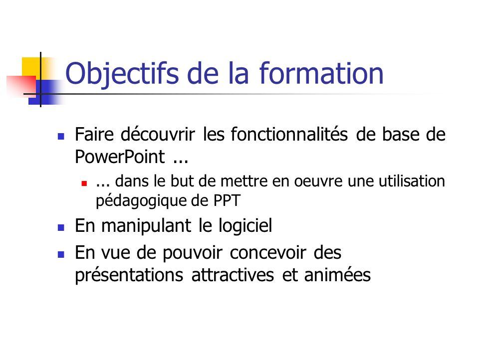 Objectifs de la formation Faire découvrir les fonctionnalités de base de PowerPoint...... dans le but de mettre en oeuvre une utilisation pédagogique