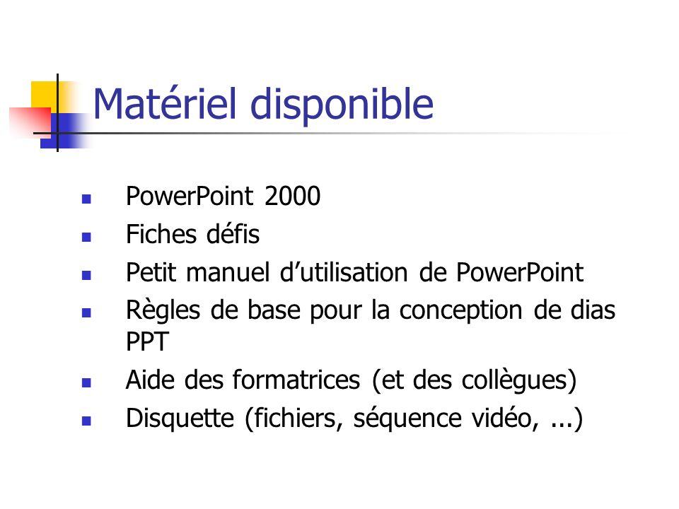 Matériel disponible PowerPoint 2000 Fiches défis Petit manuel dutilisation de PowerPoint Règles de base pour la conception de dias PPT Aide des format