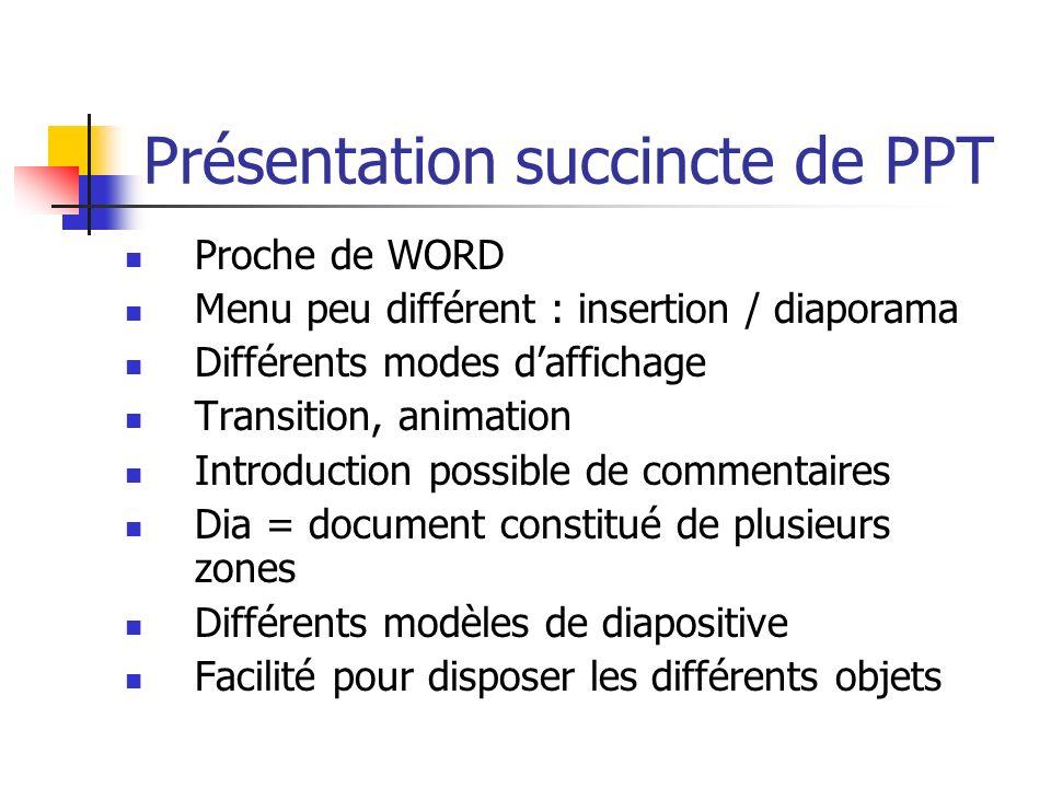 Présentation succincte de PPT Proche de WORD Menu peu différent : insertion / diaporama Différents modes daffichage Transition, animation Introduction
