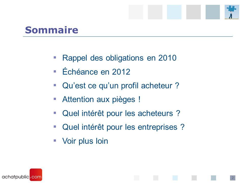 2 Rappel des obligations en 2010 Échéance en 2012 Quest ce quun profil acheteur ? Attention aux pièges ! Quel intérêt pour les acheteurs ? Quel intérê