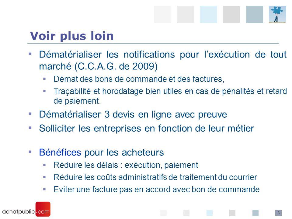 8 Voir plus loin Dématérialiser les notifications pour lexécution de tout marché (C.C.A.G. de 2009) Démat des bons de commande et des factures, Traçab