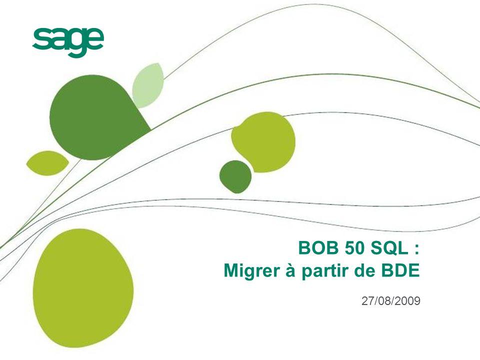 2 Agenda Advantage Database Server : philosophie Passer de BDE à BOB 50 SQL Changements et précautions à prendre BOB-link BOB-script BOB-dev BOB-ole Outils divers Conclusions et séances de questions